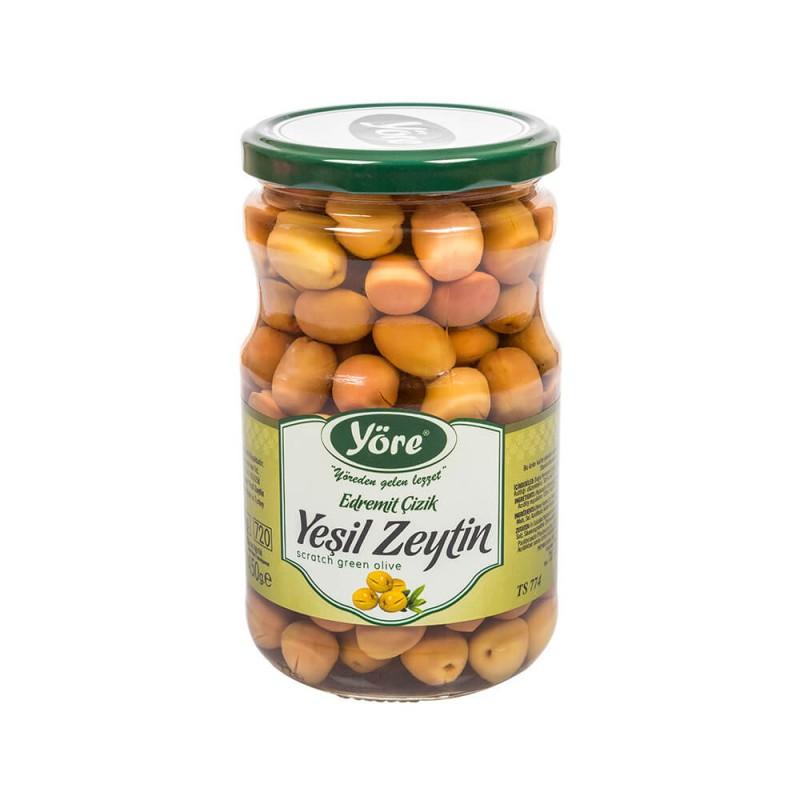 Yöre Edremit Çizik Süper Yeşil Zeytin 450 gr Cam Kavanoz ürünü