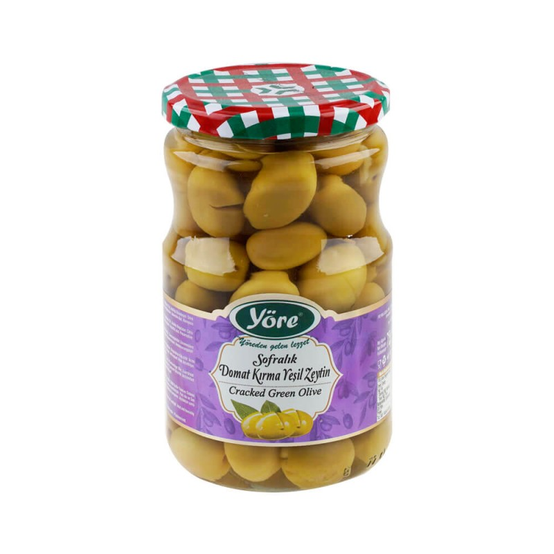 Yöre Domat Kırma Mega Yeşil Zeytin 400 gr Cam Kavanoz ürünü