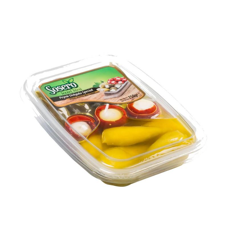 Sosero Peynir Dolgulu Üç Biberli Karışık Tabak 250 gr Vakum Tabak ürünü