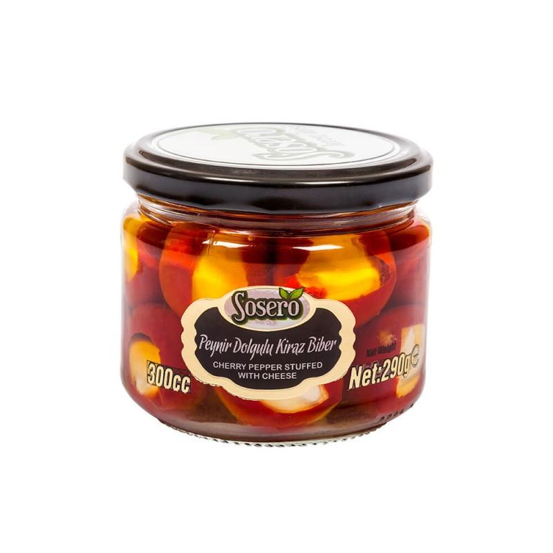 Sosero Peynir Dolgulu Kiraz Biber 290 gr Cam Kavanoz ürünü