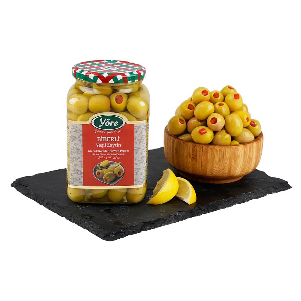 Yöre Domat Biberli Jumbo Yeşil Zeytin Cam Kavanoz 550 gr (181-200 Kalibre) ürünü