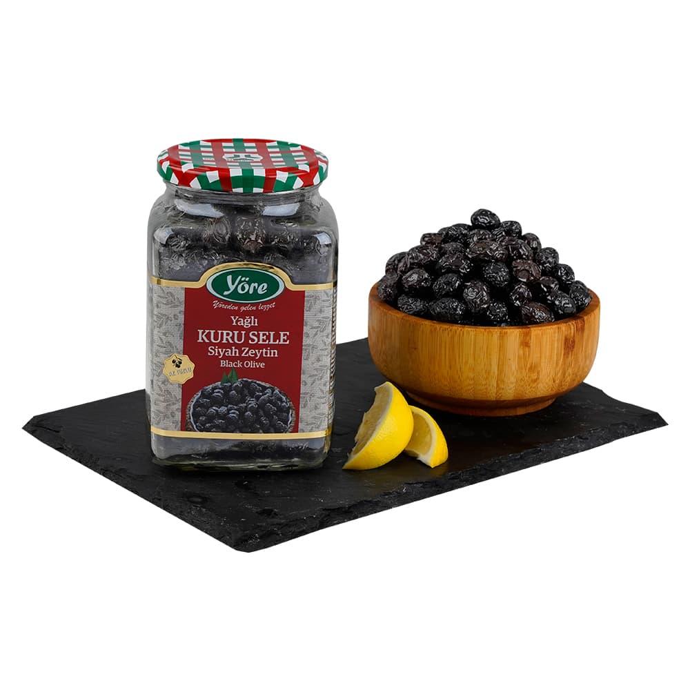 Yöre Gemlik Yağlı Kuru Sele Siyah Zeytin 550 gr ürünü