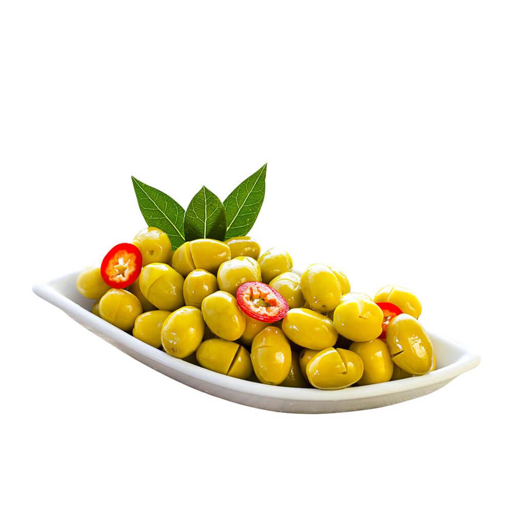 Yöre Domat Kırma Mega Yeşil Zeytin 400 gr Cam Kavanoz (141-160 Kalibre) ürünü