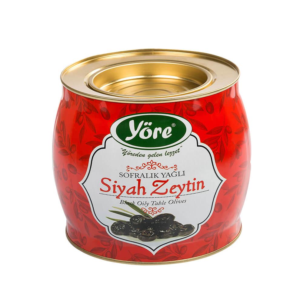 Yöre Mega Yağlı Sele Siyah Zeytin 1500 gr Teneke (231-260 Kalibre) ürünü
