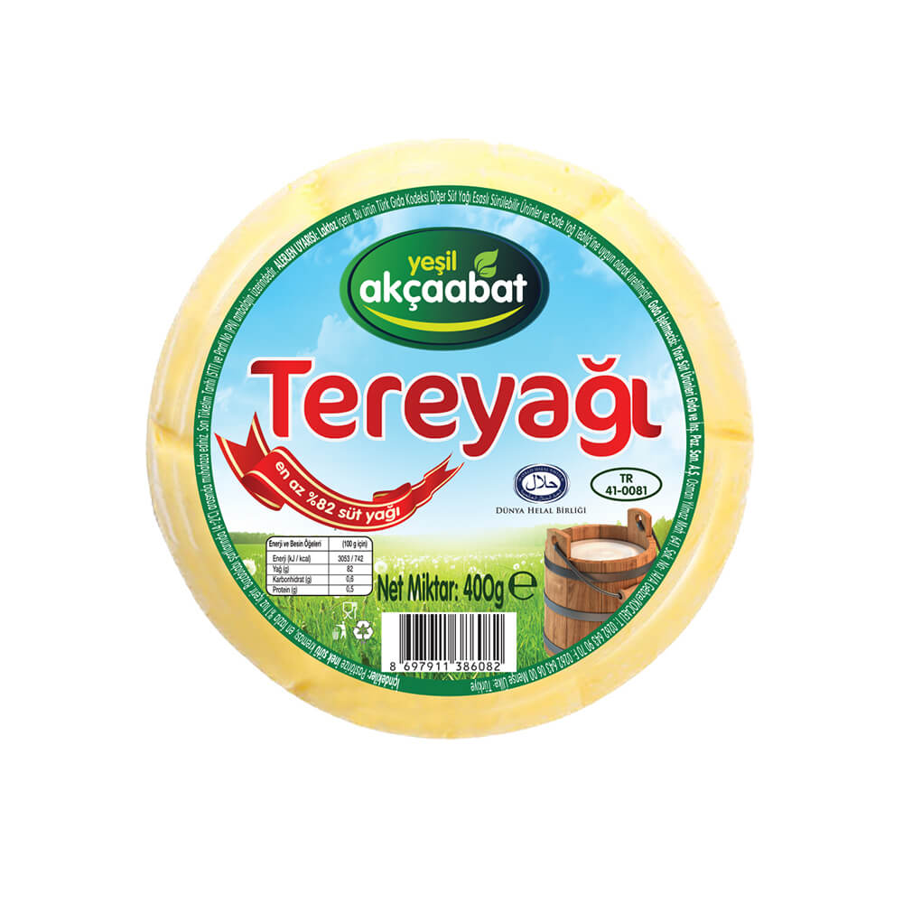 Yeşil Akçaabat Trabzon Tereyağı Tuzsuz 400 gr ürünü