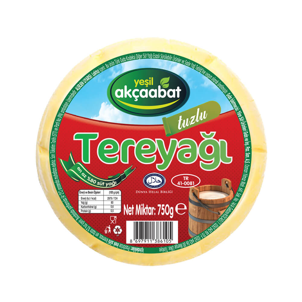 Yeşil Akçaabat Trabzon Tereyağı Tuzlu 750 gr ürünü